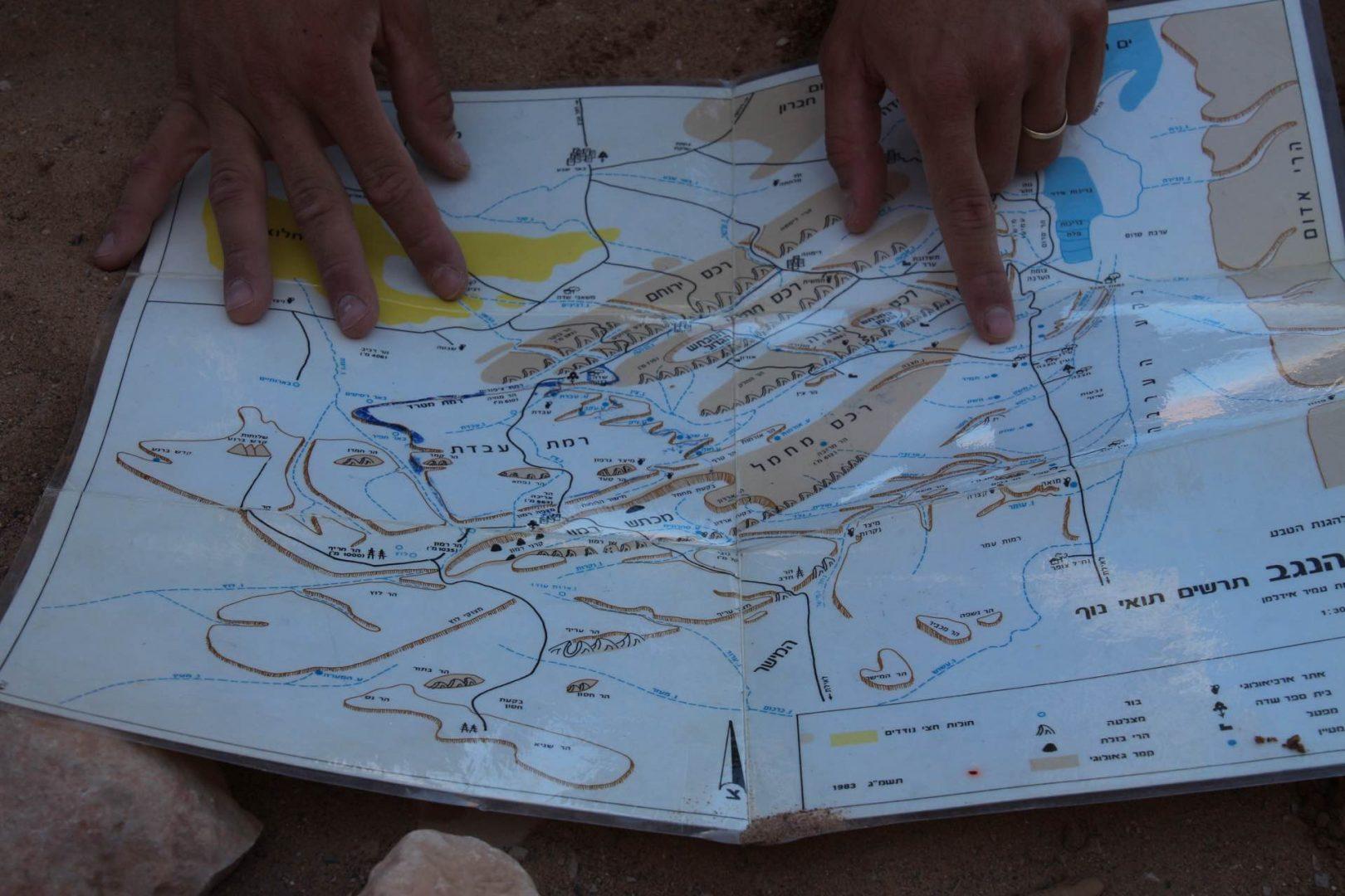 מפת מכתש רמון טיול ג׳יפים